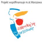 logotyp miasta stołecznego Warszawy na białym tle z dopiskiem projekt współfinansuje m.st. Warszawa oraz napisem zakochaj się w warszawie