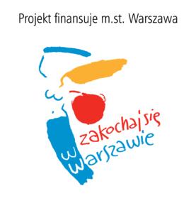 logo syrenka z napisem Zakochaj się w Warszawie oraz Projekt finansuje miasto stołeczne Warszawa